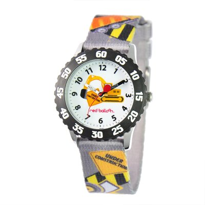 Red Balloon Boy's Construction Site Kid's Time Teacher Watch