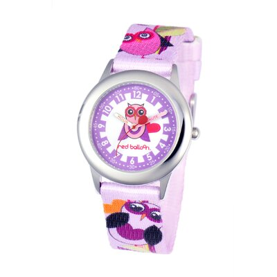 Red Balloon Girl's Love Owl Kid's Time Teacher Watch