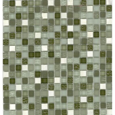 "Surfaces Elida Glass 12"" x 12"" Mosaic in Seaweed Stone"