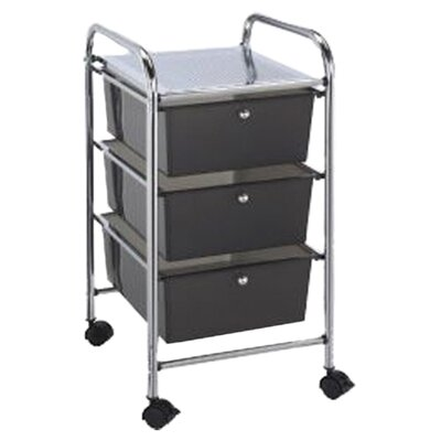 Alvin and Co. Blue Hills Studio Storage Cart with Three Smoke Color Drawers