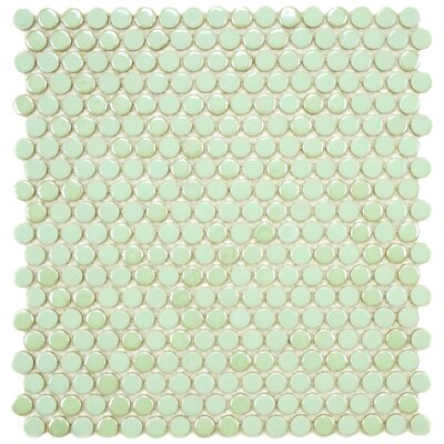 "EliteTile Posh 5/8"" x 5/8"" Penny Round Porcelain Mosaic Wall Tile in Mint"
