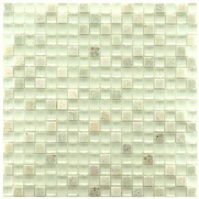 "EliteTile Sierra 11-3/4"" x 11-3/4"" Polished Glass and Stone Mini Mosaic in Ming"