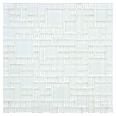 EliteTile Sierra Random Sized Polished Glass Mosaic in Versailles Ice White