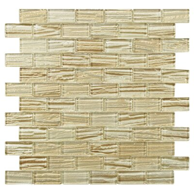EliteTile Timber Glass Glass Mosaic Tile in Cream