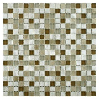 EliteTile Commix Glass and Brushed Aluminum Mosaic Tile in Lorraine