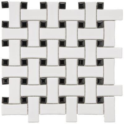 EliteTile Basket Weave 9-3/4&quot; x 9-3/4&quot; Porcelain Mosaic in White and Black