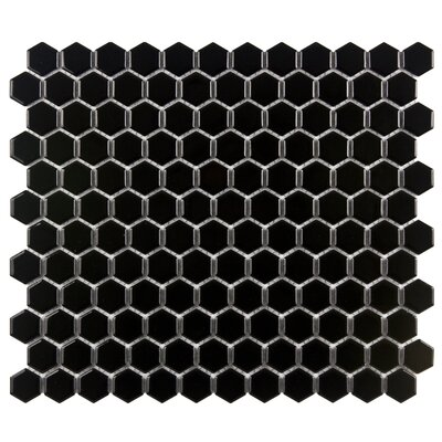"EliteTile Retro 7/8"" x 7/8"" Glazed Porcelain Hexagon Mosaic in Black"