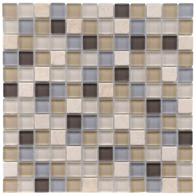 "EliteTile Sierra 11-3/4"" x 11-3/4"" Polished Glass and Stone Square Mosaic in River"