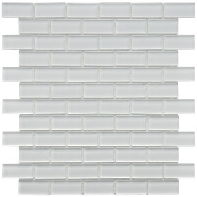 "EliteTile Sierra 1-7/8"" x 7/8"" Polished Glass Subway Mosaic in Ice White"