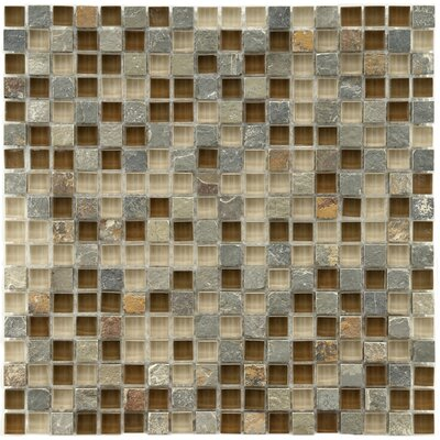 "EliteTile Sierra 5/8"" x 5/8"" Polished Glass and Stone Mini Mosaic in Brixton"