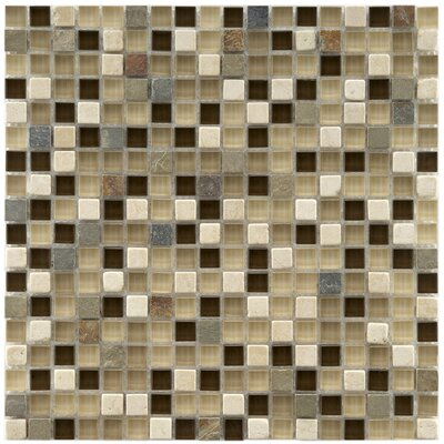 "EliteTile Sierra 5/8"" x 5/8"" Polished Glass and Stone Mini Mosaic in Nassau"