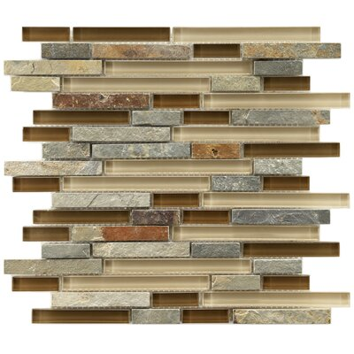 "EliteTile Sierra 11-3/4"" x 11-3/4"" Polished Glass and Stone Piano Mosaic in Brixton"