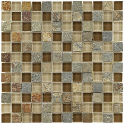 "EliteTile Sierra 11-3/4"" x 11-3/4"" Polished Glass and Stone Square Mosaic in Brixton"