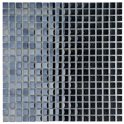 EliteTile Sable 11-3/4&quot; x 11-3/4&quot; Glass Mini Mosaic in Black Mirror