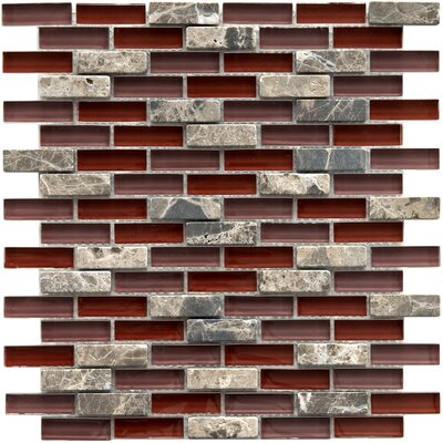 "EliteTile Sierra 11-3/4"" x 11-3/4"" Polished Glass and Stone Subway Mosaic in Bordeaux"