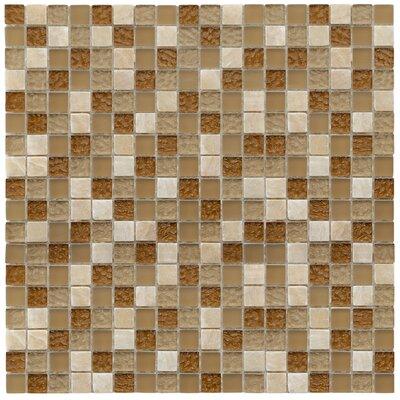 """EliteTile Sierra 5/8"""" x 5/8"""" Polished Glass and Stone Mini Mosaic in Amber"""