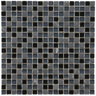 "EliteTile Sierra 11-3/4"" x 11-3/4"" Polished Glass and Stone Mini Mosaic in Bizancio"
