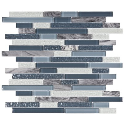 "EliteTile Sierra 11-3/4"" x 11-5/8"" Polished Glass and Stone Piano Mosaic in Gulf"