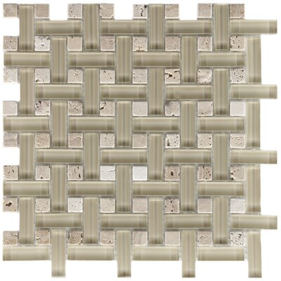 EliteTile Sierra Random Sized Polished Glass and Stone Basketweave Mosaic in Sand