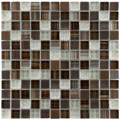 "EliteTile Sierra 7/8"" x 7/8"" Polished Glass and Metal Square Mosaic in Truffle"