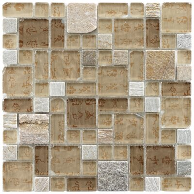 "EliteTile Sierra 11-3/4"" x 11-3/4"" Polished Glass and Stone Versailles Mosaic in Heritage"