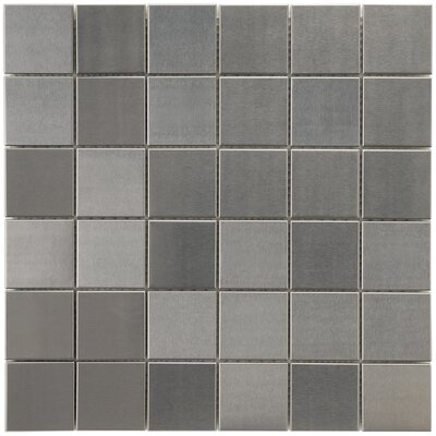 "EliteTile Vulcan 1-7/8"" x 1-7/8"" Polished Stainless Steel Over Porcelain Mosaic in Stainless Steel"