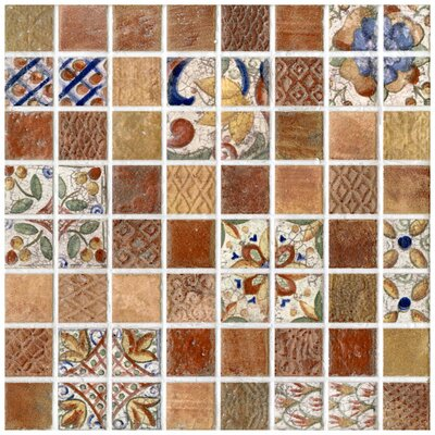 "EliteTile Tesselar Valise 3 7-13/16"" x 7-13/16"" Glazed Ceramic Mosaic in Earth Tones"