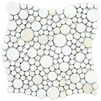 "EliteTile Posh 11-1/4"" x 12"" Bubble Porcelain Mosaic Wall Tile in White"