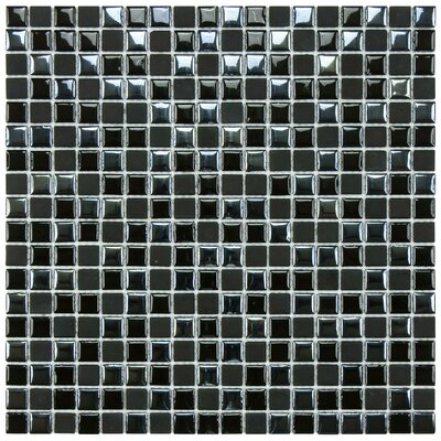 "EliteTile Posh 11-3/4"" x 11-3/4"" Pixie Porcelain Mosaic Wall Tile in Black"