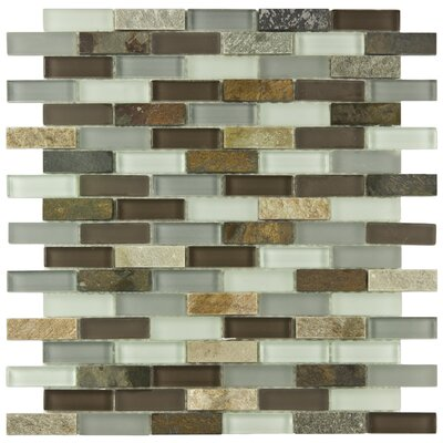 "EliteTile Sierra 1-7/8"" x 1/2"" Polished Subway Glass and Stone Wall  Mosaic in Tundra"