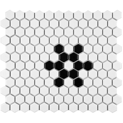 "EliteTile Retro 10-1/4"" x 11-3/4"" Glazed Porcelain Hex Mosaic in Matte White with Snowflake"