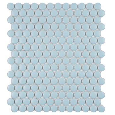 "EliteTile Retro 11-1/2"" x 9-7/8"" Glazed Porcelain Penni Mosaic in Matte Light Blue"