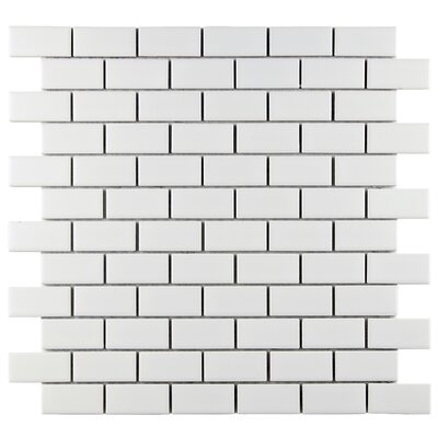 "EliteTile Retro 1-7/8"" x 7/8"" Glazed Porcelain Subway Mosaic in Matte White"