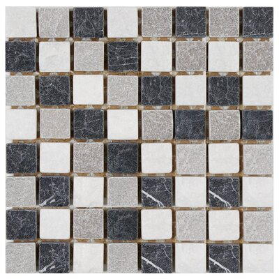"EliteTile Grizelda Square 1-3/8"" x 1-3/8"" Natural Stone Mosaic in Charcoal"