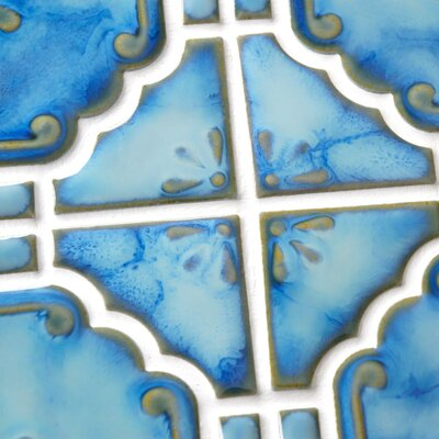 EliteTile Moonlight  Random Sized Porcelain Mosaic in Diva Blue