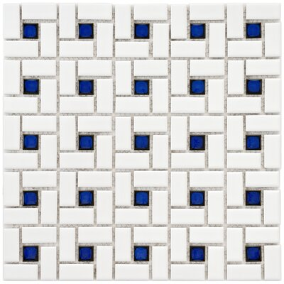 EliteTile Retro Random Sized Glazed Porcelain Spiral Mosaic in White and Blue