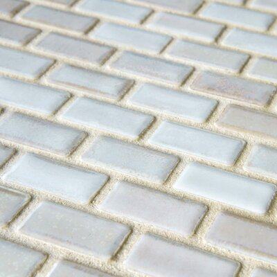 "EliteTile Arcadia 11-3/4"" x 11-3/4"" Glazed Porcelain Subway Mosaic in Glacier"