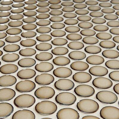 "EliteTile Penny 3/4"" x 3/4"" Glazed Porcelain Mosaic in Café"
