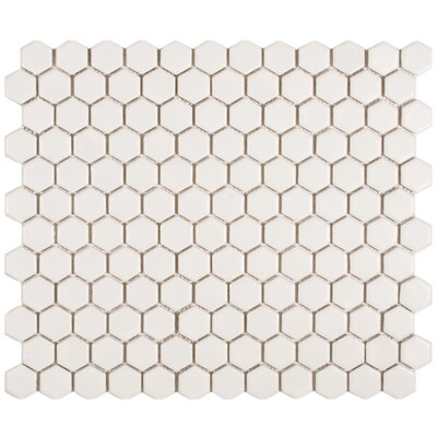 "EliteTile Retro 7/8"" x 7/8"" Glazed Porcelain Hex Mosaic in Matte White"