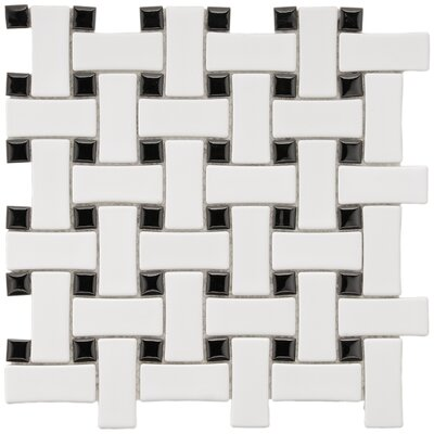 EliteTile Basket Weave Random Sized Glazed Porcelain Mosaic in White and Black