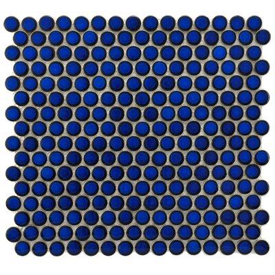 "EliteTile Penny 3/4"" x 3/4"" Glazed Porcelain Mosaic in Blue Eye"