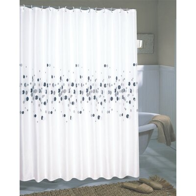 Carnation Home Fashions Dots Extra Wide Polyester Fabric Shower Curtain
