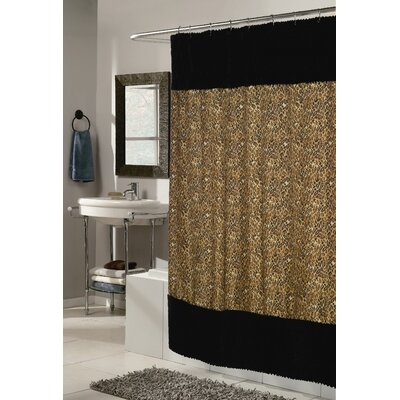 Carnation Home Fashions Animal Instincts Polyester Sable Faux Fur Trimmed Shower Curtain