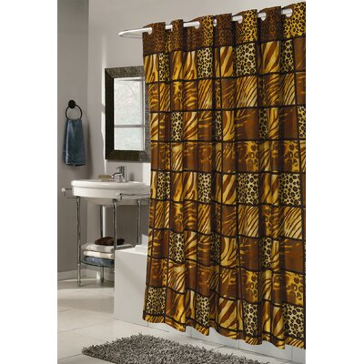 Carnation Home Fashions Ez On Wild Encounter Fabric Shower Curtain