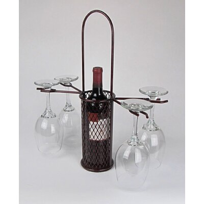 Metrotex Designs Industrial Evolution Heavy Mesh Single Bottle Carrier with Four Stem Glass Holders