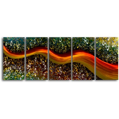 "My Art Outlet ""Satin Riverlet Through O's"" 5 Piece Contemporary Handmade Metal Wall Art Set"
