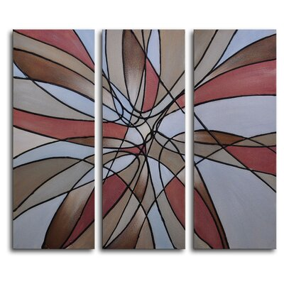 "My Art Outlet Hand Painted ""Leafy Burst in Russet"" 3-Piece Canvas Art Set"