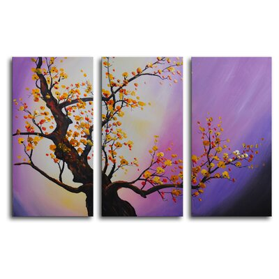 My Art Outlet Autumn Leaves, Purple Aura 3 Piece Painting Print on Canvas Set