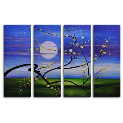 "My Art Outlet Hand Painted ""Reach Across the Moon"" 4-Piece Canvas Art Set"