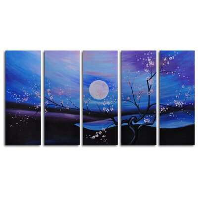 My Art Outlet Moonlit Pond 5-Piece Painting Print on Canvas Set